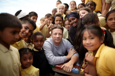 Celebrity Jamie Oliver launched his school dinners campaign